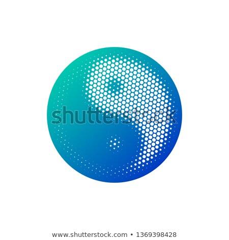 полутоновой Инь-Ян икона синий градиент изолированный Сток-фото © kyryloff