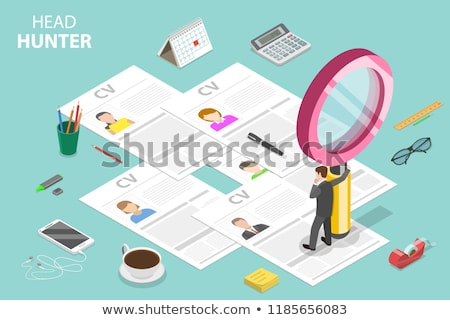 Isometric flat vector concept of headhunting, recruitment, HR manager review. Stock photo © TarikVision