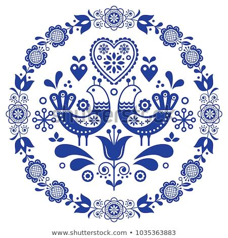 Folk art vector round ornamental frame with birds, hearts, and flowers, Scandinavian design in circl Stock photo © RedKoala