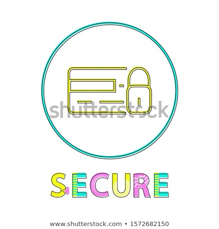 Secure Online Shopping Service Round Linear Button Stok fotoğraf © robuart