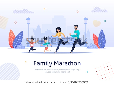 Family and Running Couple Vector Illustration Stock fotó © robuart
