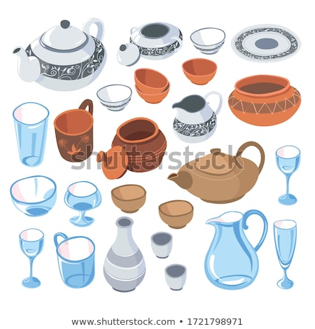 Table Serving with Ceramics Teapot and Cups Vector Zdjęcia stock © robuart
