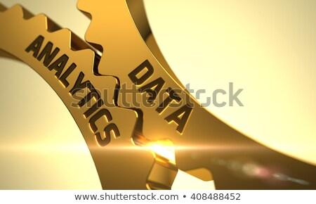 Golden Gears with Data Analytics Concept. 3D Illustration. Photo stock © tashatuvango