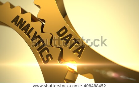 Сток-фото: Golden Gears with Data Analytics Concept. 3D Illustration.