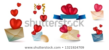 set of vector icons with hearts isolated on white contains mesh elements stock photo © heliburcka