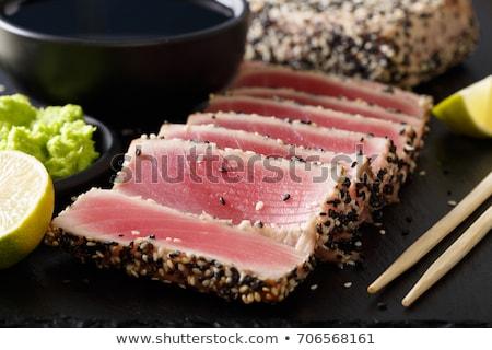Frito atún blanco placa sección transversal Foto stock © Alex9500