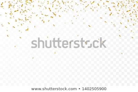 Stock photo: Gold confetti. Celebration carnival ribbons. Luxury greeting card. Vector illustration