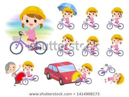 Nursery school girl_city cycle Stock photo © toyotoyo