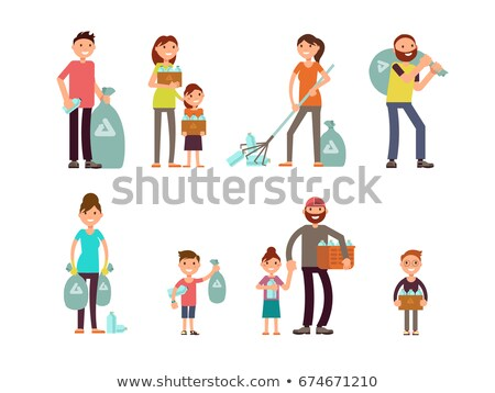 Plastic Bag with Collected Garbage Isolated Icon Stock photo © robuart
