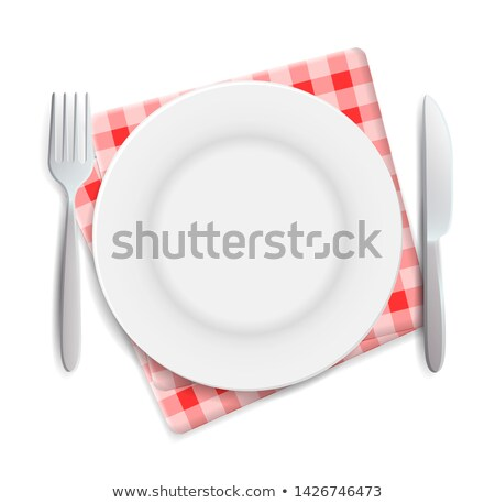 realistic empty plate fork and knife served on checkered rednapkin vector illustration can be used stock photo © marysan
