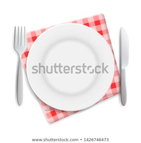 Réaliste vide plaque fourche couteau servi Photo stock © MarySan