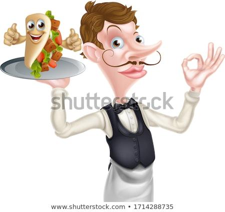 Cartoon kebab chips De ober teken illustratie Stockfoto © Krisdog