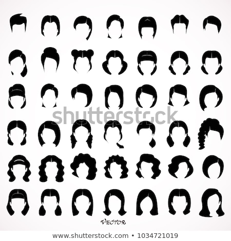 hairstyles big set of black hair styling for woman stock photo © essl