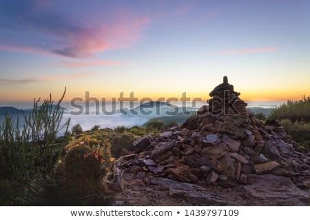 Blauw bergen uur lang klif Stockfoto © lovleah