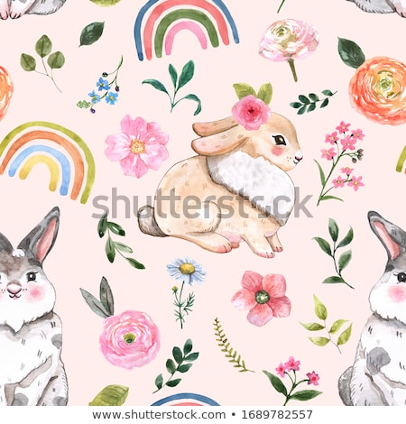 easter seamless pattern design with bunnies stock photo © marish