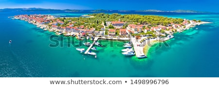 Isla pueblo aéreo panorámica vista mar Foto stock © xbrchx