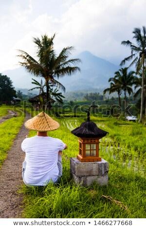 Man traditioneel cap klein altaar rijst Stockfoto © boggy