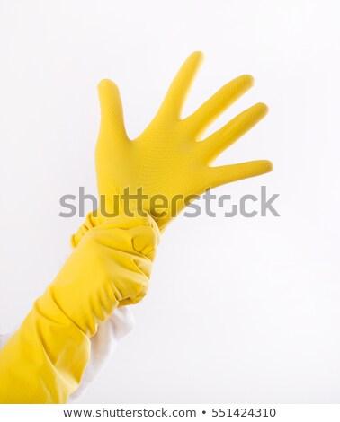 экономка очистки службе сотрудников желтый резиновые перчатки Сток-фото © pressmaster