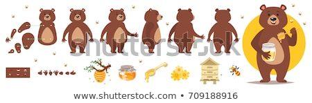 Vector character of cute bear in a honey jar Stock photo © amaomam