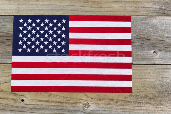 Egyesült Államok Amerika zászló rusztikus fából készült cédrus Stock fotó © tab62