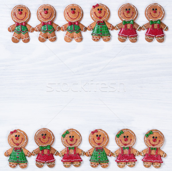 White wooden boards with Christmas cookies on upper and lower bo Stock photo © tab62