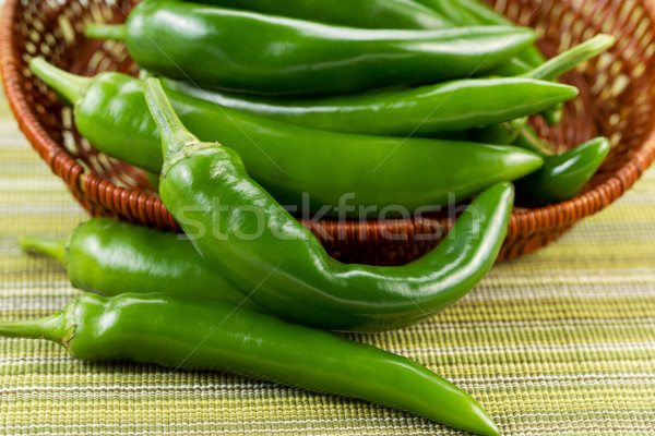 Korean Green Peppers falling out of Basket Stock photo © tab62