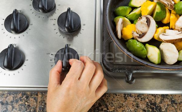 Природный газ печи Кука овощей стороны Сток-фото © tab62