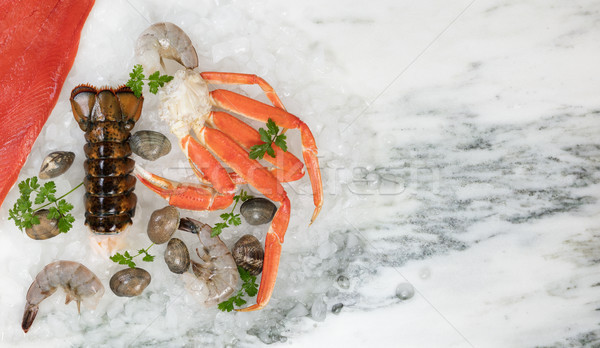Fresh seafood on marble table background  Stock photo © tab62