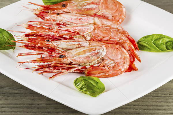 Freshly Cooked Shrimp on White Plate  Stock photo © tab62
