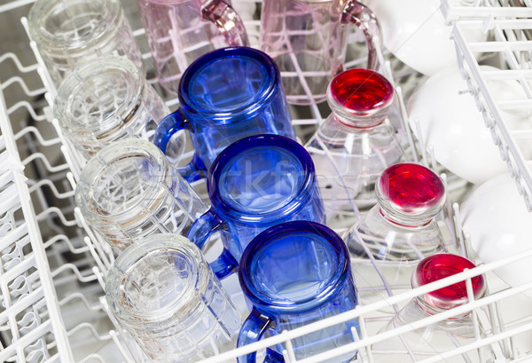 Glassware and dishes inside of Dishwasher  Stock photo © tab62