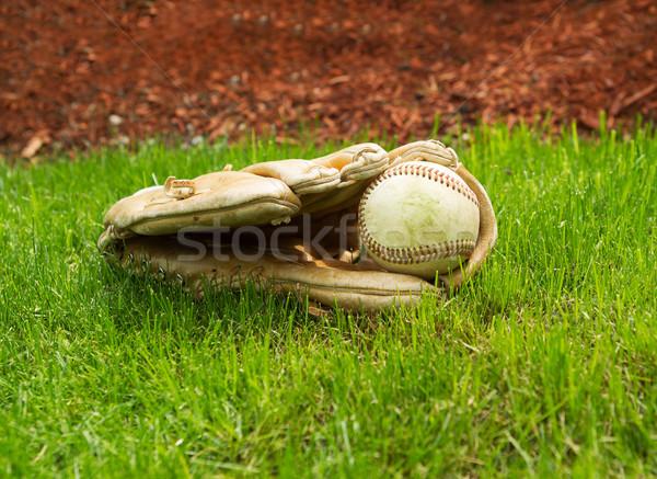 古い 野球 中古 手袋 地上 ストックフォト © tab62