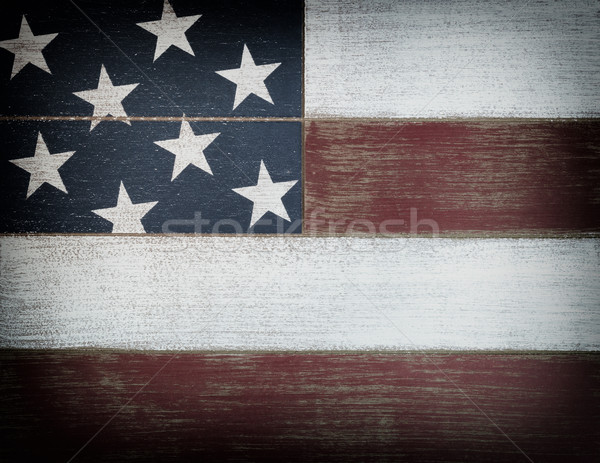 USA national colors painted on faded wooden boards with vignette Stock photo © tab62