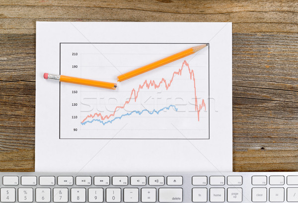 Line graph reflecting market conditions on a rustic wooden desk  Stock photo © tab62