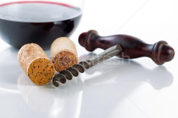 öreg dugóhúzó vörösbor üveg asztal közelkép Stock fotó © tab62