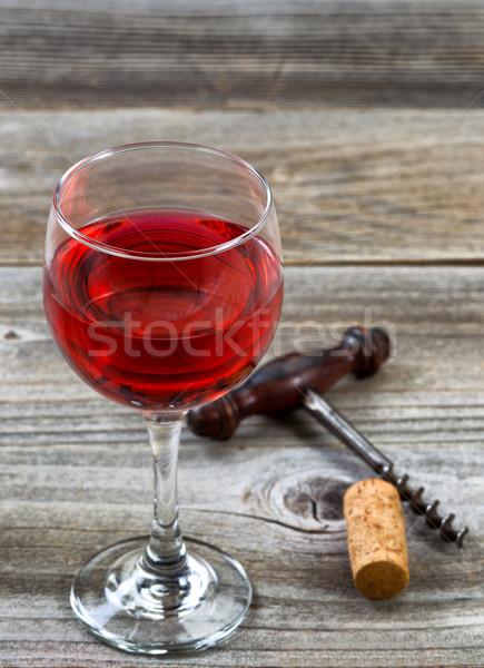ガラス 赤ワイン コークスクリュー コルク 木材 ストックフォト © tab62