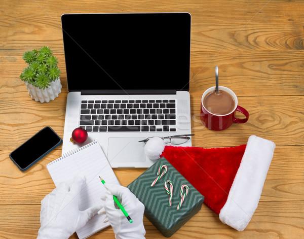 Mikulás ajándék lista karácsony ünnep magas Stock fotó © tab62