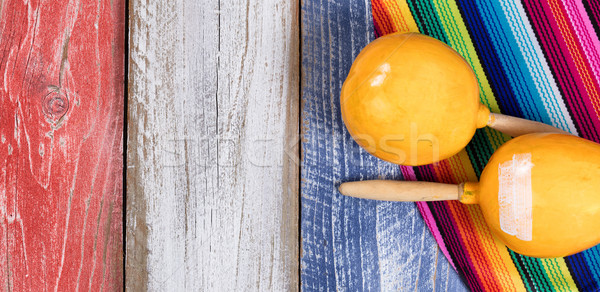 Mexican party objects on painted rustic wooden boards in USA col Stock photo © tab62