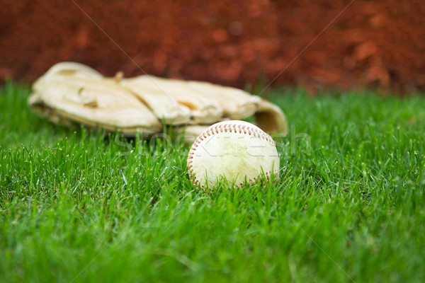 Old Baseball and Glove on Field  Stock photo © tab62
