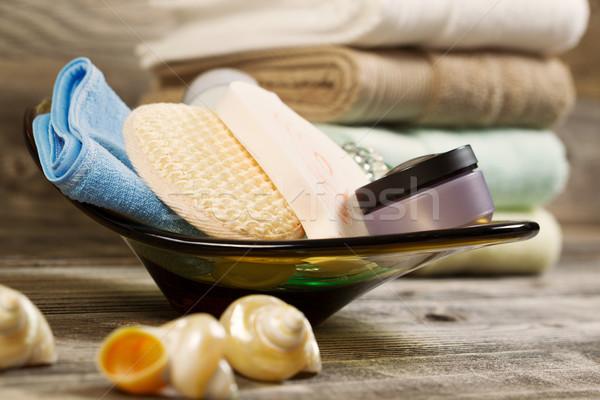 Spa higiene vidrio tazón rústico Foto stock © tab62