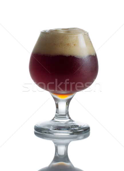 Stock photo: Full Draft Dark Beer in Glass Goblet