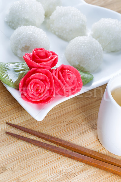Sweet Chinese Rice Balls with Green Tea Stock photo © tab62