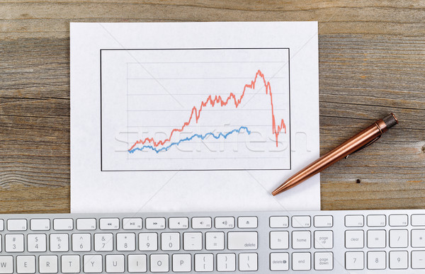 Stock photo: Line graph reflecting wild market conditions on desktop