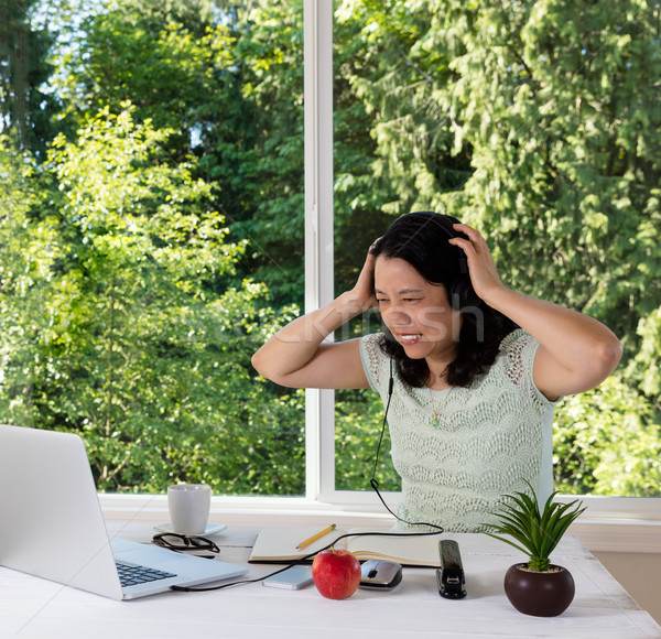 Mature woman in anger will working from home   Stock photo © tab62