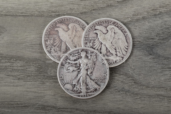 Silver Coins on Old Wood  Stock photo © tab62