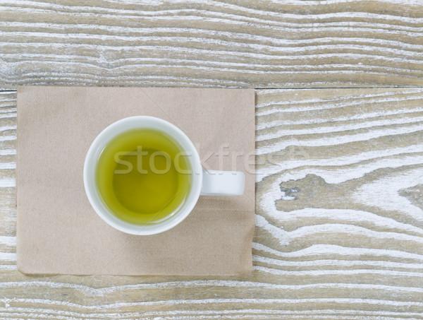 Zöld tea kopott fa felső kilátás lövés Stock fotó © tab62