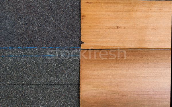 New shingles of composite and cedar wood side by side to compare Stock photo © tab62