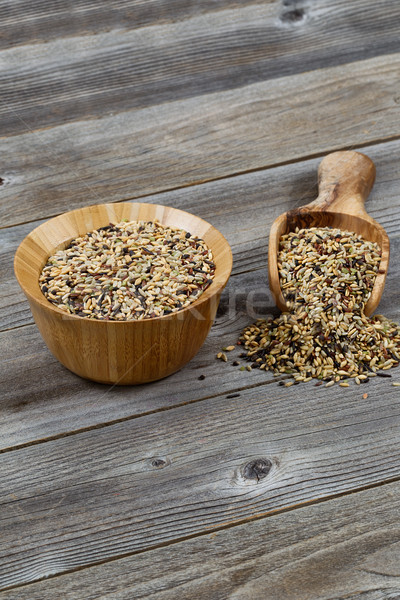 Traditional Mixed Grain Rice with Kitchenware on Rustic Wood  Stock photo © tab62