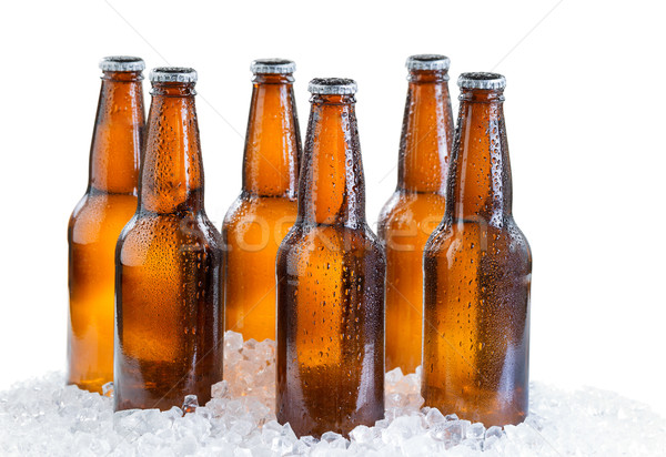 Six pack of ice cold bottled beer isolated on white background  Stock photo © tab62