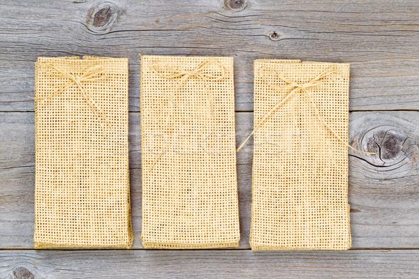 3  新しい 黄麻布 袋 木材 ストックフォト © tab62