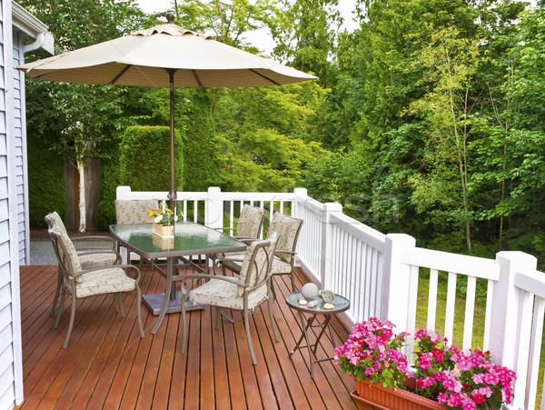 Extérieur patio cèdre bois pont arbres Photo stock © tab62